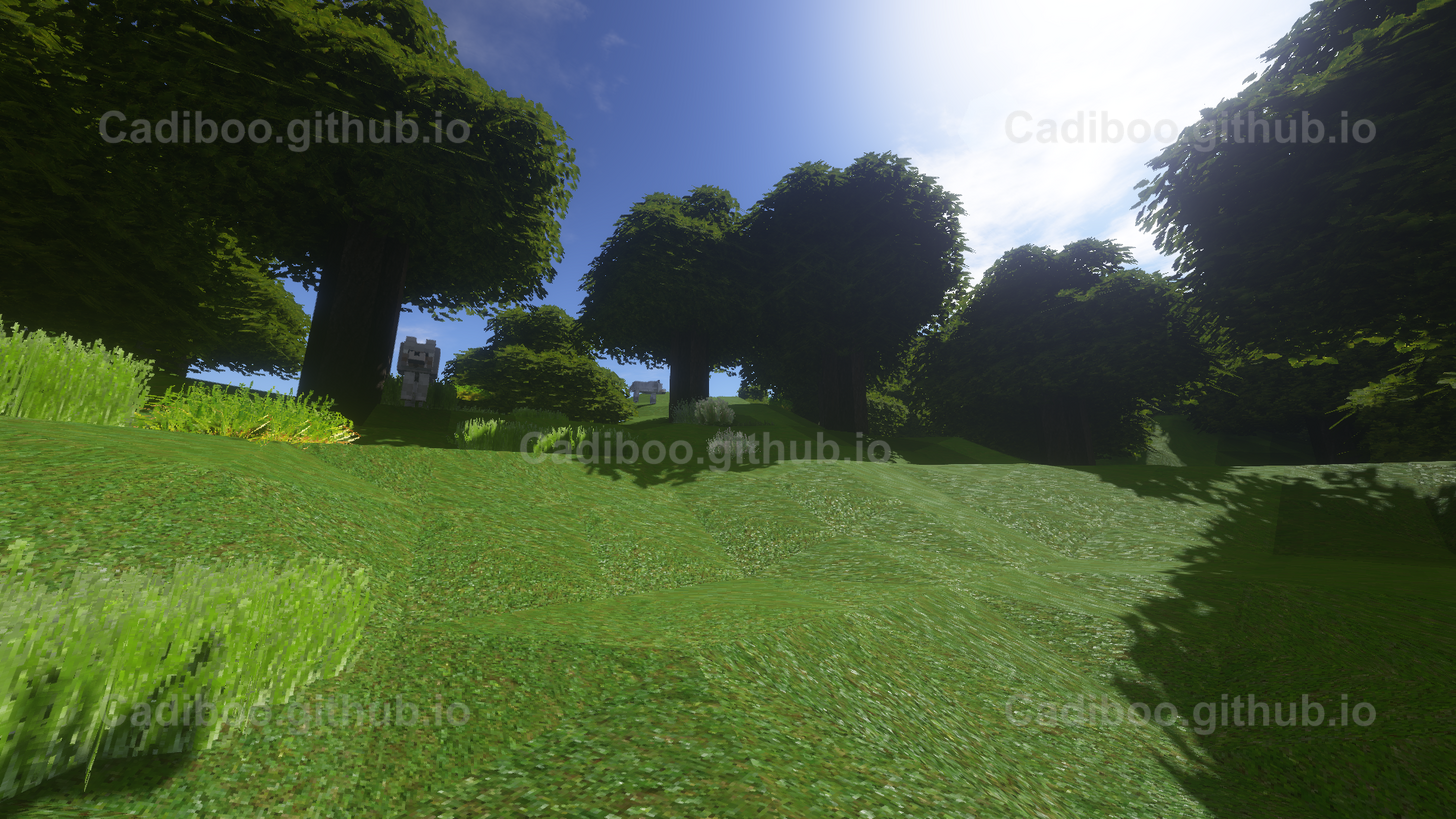 NoCubes (Marching Cubes Algorithm) with Shaders in Plains Biome looking up hill with Wolves
