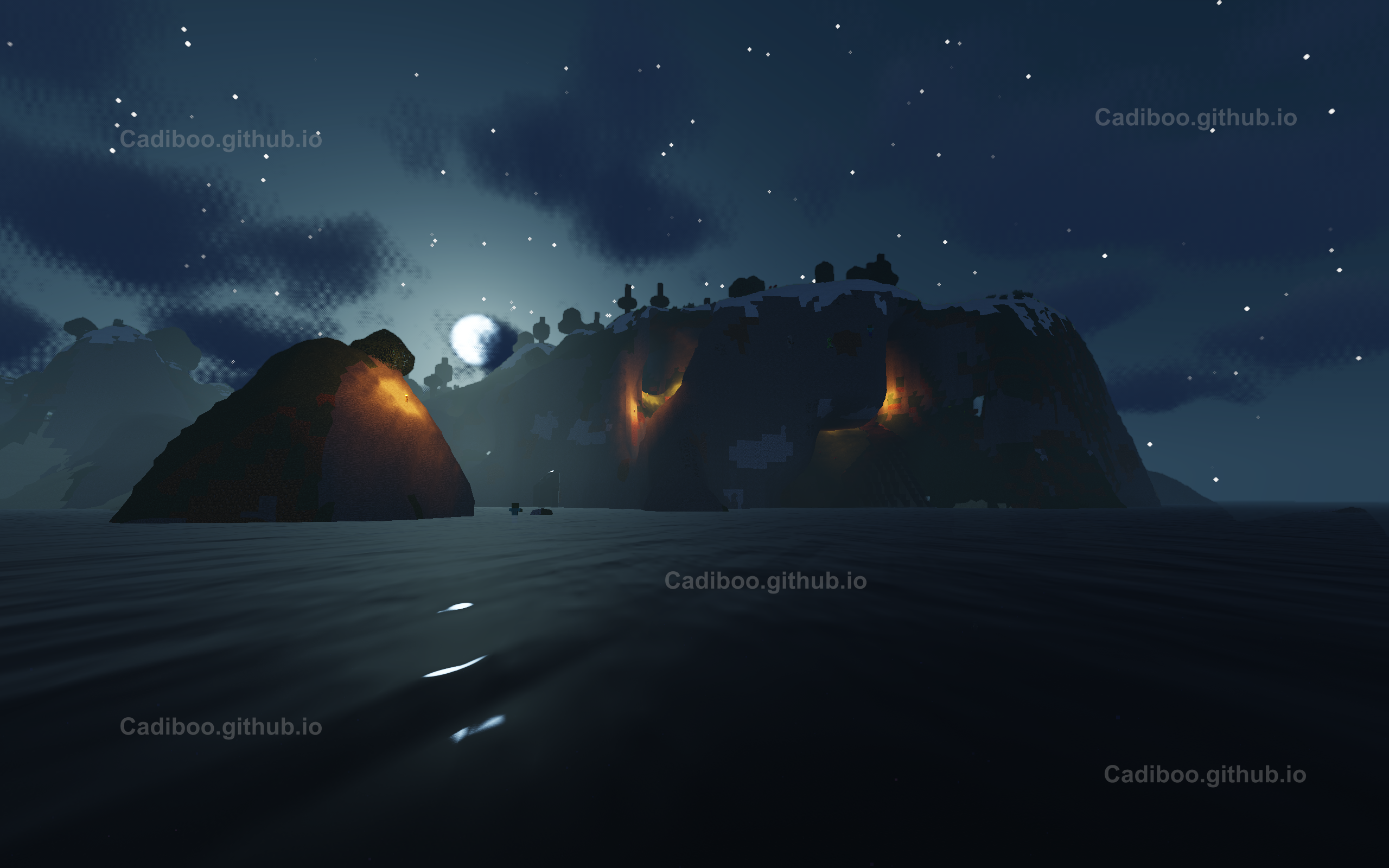 NoCubes (Surface Nets Algorithm) on water looking at cliff with caves with Shaders